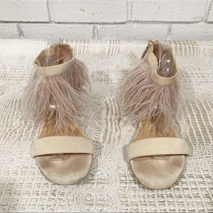 Twinset Blush Nude Pink Ostrich Ankle Sandals